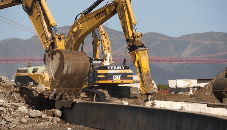demolition equipment, excavators, bobcats, backhoes